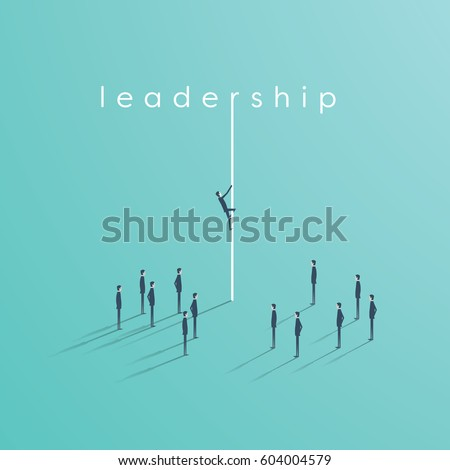 Business leadership vector concept with business man climbing on a rope in front of team. Eps10 vector illustration.