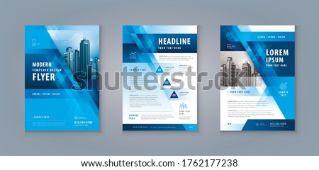 Business Leaflet Brochure Flyer Template Design Set. Corporate Flyer Template A4 Size, Abstract Blue Geometric Triangle Background, invitation Card, flyer, presentation, banner, Booklet, cover book