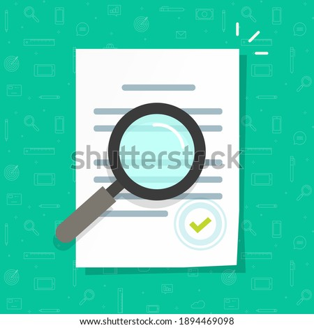 Business legal document expertise or inspection vector icon flat cartoon, concept of order review, corporate file quality revision, law agreement research, office docs audit check modern design Stock foto ©
