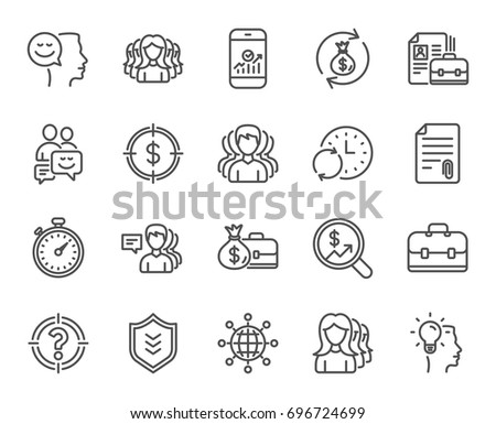Business line icons. Group, Profile and Teamwork signs. Portfolio, Timer and Security shield symbols. Analytics and Human Management. Quality design elements. Editable stroke. Vector