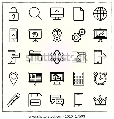 Business line icons set clock and alarm