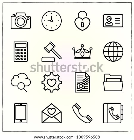 Business line icons set file and internet
