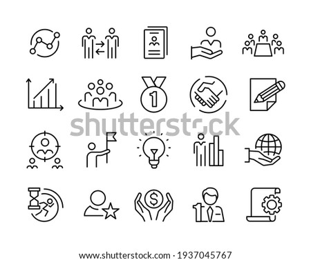 Business Line Icons - Vector Line Icons. Editable Stroke. Vector Graphic