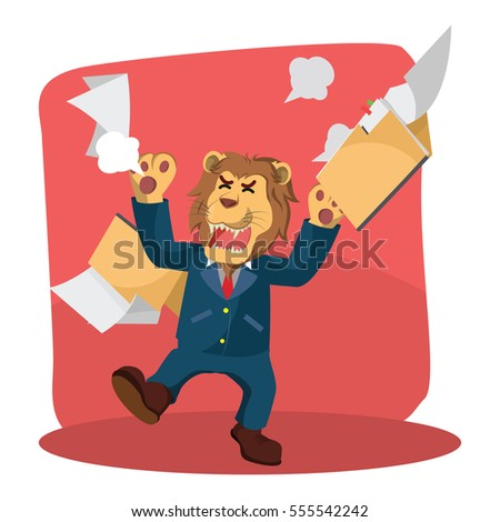 business lion angry with folder