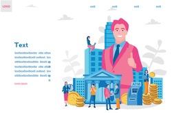 Business Loan Offer, Bank Investments Proposal, Refinancing Opportunity. Vector illustration for web. ATM, Businessman, Business Owner in big city, Bank Building, Money , Credit Card Illustration