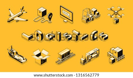Business logistics line art, isometric vector banner. Retail company distribution, delivery or postal service technologies, commercial freights transportation concept. Cargo shipping icons collection