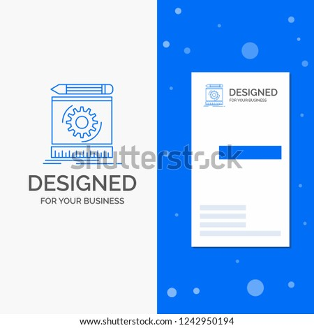 Business Logo for Draft, engineering, process, prototype, prototyping. Vertical Blue Business / Visiting Card template