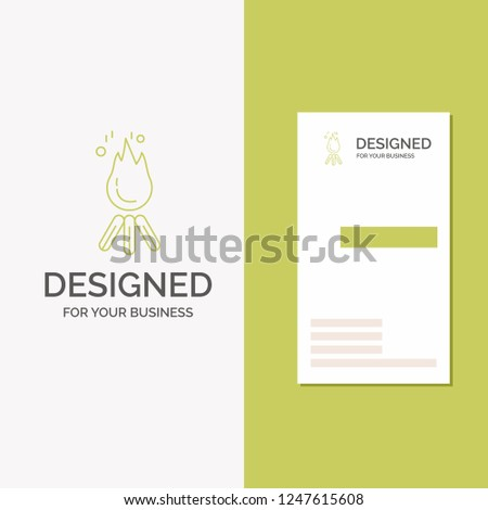 Stock Photo Business Logo for fire, flame, bonfire, camping, camp. Vertical Green Business / Visiting Card template. Creative background vector illustration