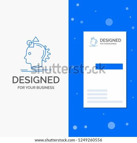 Business Logo for Imagination, imaginative, imagine, idea, process. Vertical Blue Business / Visiting Card template