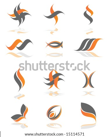 Business logo set with shadows - stock vector