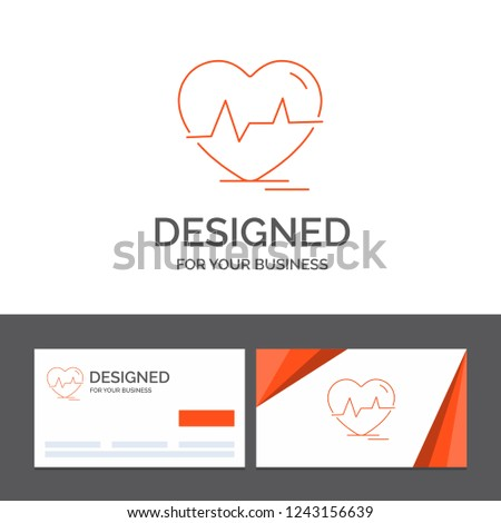 Business logo template for ecg, heart, heartbeat, pulse, beat. Orange Visiting Cards with Brand logo template