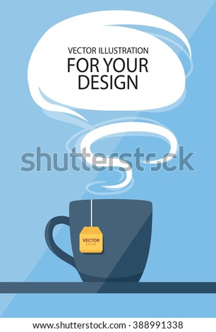 Business lunch concept. Cup of tea with speech balloon.