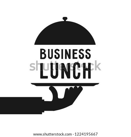 business lunch like black hand serve. simple trend modern cater foodie word logotype graphic cartoon isolated on white. concept of gourmet person with cuisine and free hour for employee in eatery