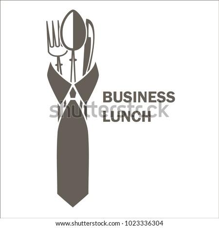 Business lunch logo template design. Vector illustration.