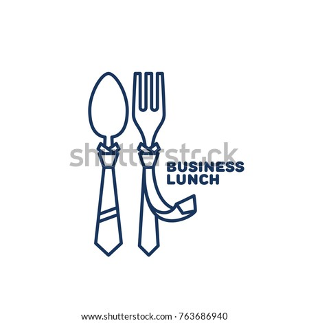 Business lunch logo template design with a fork and a spoon in outline style. Vector illustration.