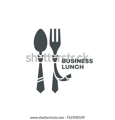 Business lunch logo template design with a fork and a spoon. Vector illustration.