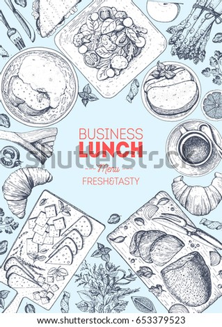 Business lunch top view frame. Food menu design. Vintage hand drawn sketch vector illustration. Lunch food dishes.