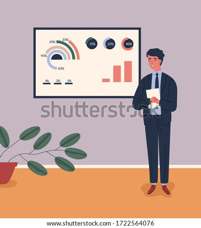 Business male character in suit talking near board with chart and diagram during presentation vector flat illustration. Man lecturer giving lecture. Guy presenting and explaining marketing data