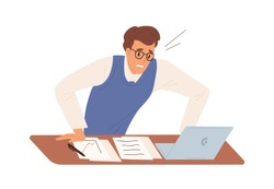 Business male feeling stress having problem at work vector flat illustration. Man office worker worried looking at screen of laptop isolated. Something went wrong. Nervous guy at workplace