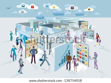 Business man and business women walk among large screens displaying information. These screens forming a labyrinth.