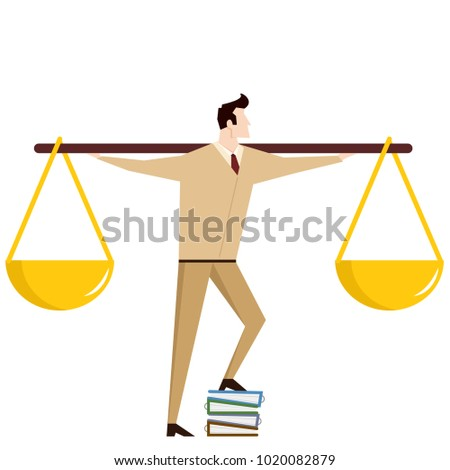 Business man and scales vector. free space for text. wallpaper. background.