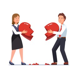 Business man and woman breaking heart apart, holding shattered pieces standing opposite to each other. Business couple divorce break up. Flat style isolated vector character illustration