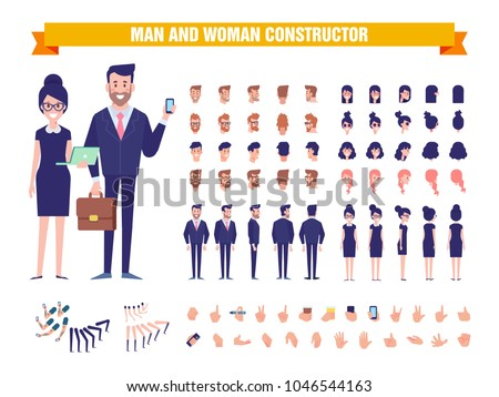 Business Man and woman character constructor with various views, hairstyles, poses and gestures. Front, side, back view. Cartoon style, flat vector illustration.