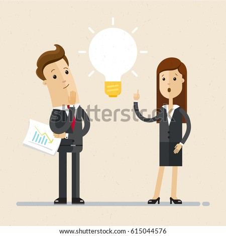 Shutterstock Business man and woman, colleagues, work together. Great idea is in form of a light bulb. Concept of teamwork  and brainstorm. Vector, illustration, flat