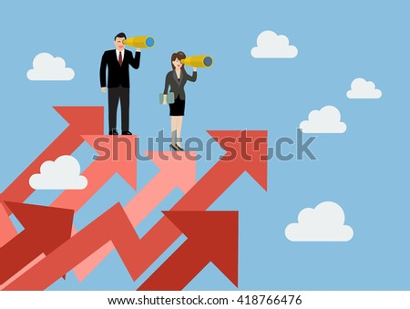 Business man and woman have a telescope standing on graph up. Business concept
