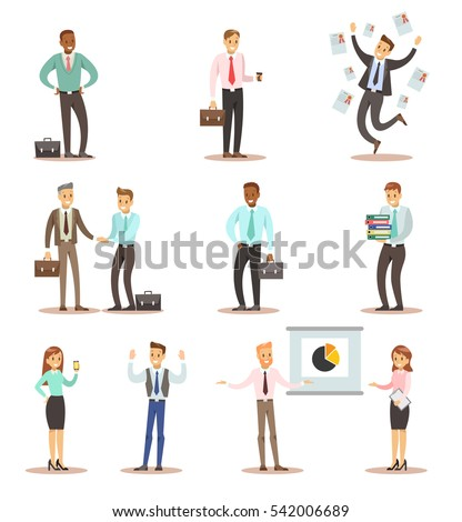 business man and woman in office character design