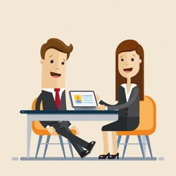 Business man and woman sit at the table, work together, interviews, negotiations, meeting. Vector, illustration, flat