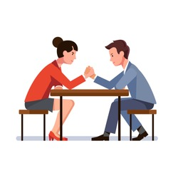 Business man and woman sitting and arm wrestling at desk. Business rivals competing. Office worker gender competition and confrontation concept. Flat vector illustration isolated on white