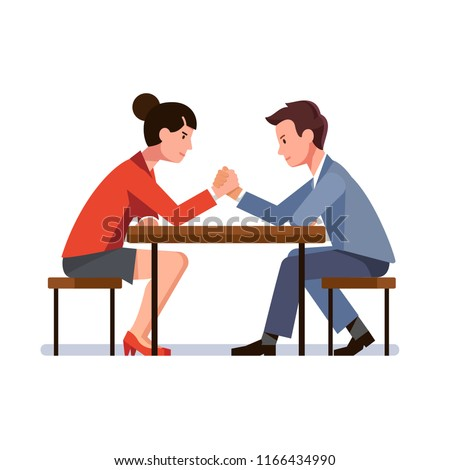 Business man and woman sitting and arm wrestling at desk. Business rivals competing. Office worker gender competition and confrontation concept. Flat vector illustration isolated on white Сток-фото ©