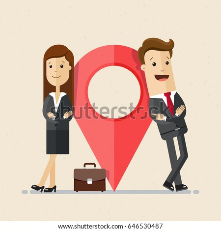 Business man and woman stand next to large map pointer. New office location. Relocation. Vector, illustration, flat