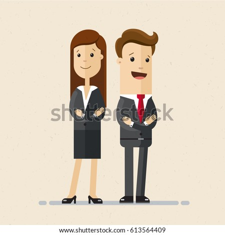 Business man and woman standing next to each other, and folded their arms on their chests. Vector, illustration, flat