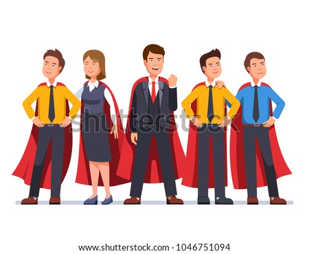 Business man and woman super dream team in red capes. Five determined business man hero persons group with a team leader. Standing entrepreneurs ready to act. Flat character vector illustration