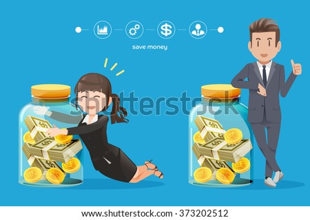 business man and woman Trying to collect money.The savings money from business.Interest on bank deposits.Investment routine.Money from a hobby.The Small Business Investment.Graphic and vector EPS 10.