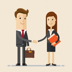 Business man and woman. Two persons are shaking hands, businessman, partners, hr manager. Vector, illustration, flat