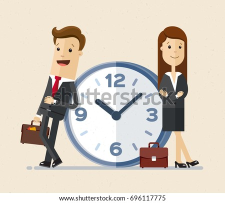 Business man and woman with a briefcases in hands stand next to a big clock. Time management concept. Vector, Illustration, Flat