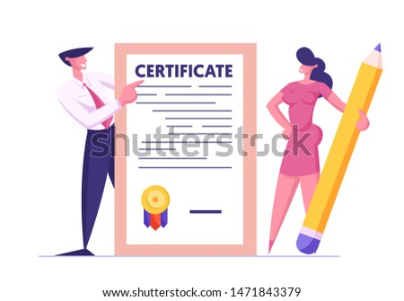 Business Man and Woman with Huge Pencil Holding Insurance Certificate with Seal Stamp for Protection of Health, Life, Real Estate and Property Interests Insured Events Cartoon Flat Vector Illustration