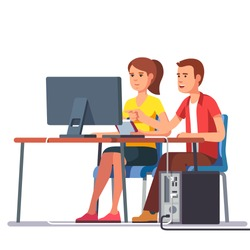 Business man and woman working together sitting at one desk with desktop computer big monitor. Flat style color modern vector illustration.
