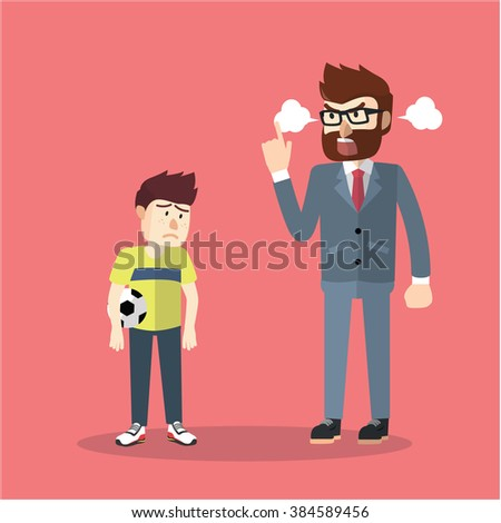 business man angry with son