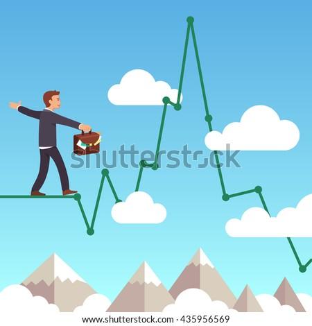 business man balancing on a