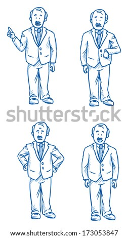 Business man boss illustration in different emotions, angry, happy, thoughtful and poses, hand drawn sketch - part 2