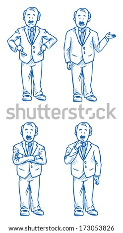Business man boss illustration in different emotions, sad, happy, thoughtful and poses, hand drawn sketch - part 1