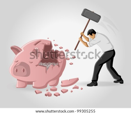 Business man breaking piggy bank with coins