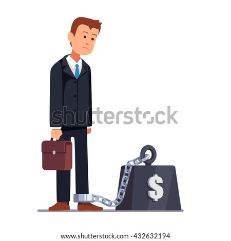 Business man chained to his big heavy debt weight with shackles. Businessman corporate slavery concept. Flat style vector illustration clipart.