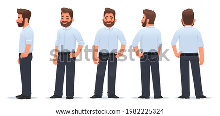 Business man character from different angles. View from the front, side and back. The guy is in a pose. Vector illustration in cartoon style