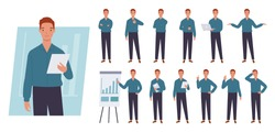 Business man character set. Different poses and emotions. Vector illustration in a flat style