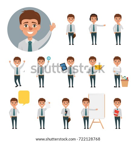 Business man character set in office job. people vector design.